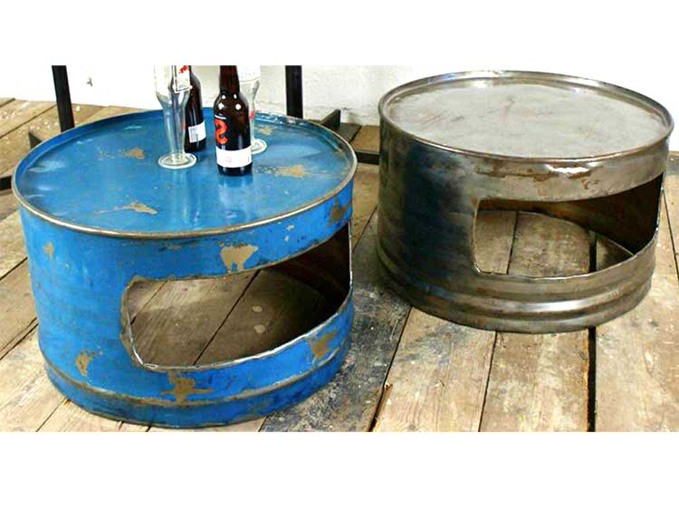 Oildrm1-19 Reuse Oil Drum Steel Table Furniture Bali Indonesia