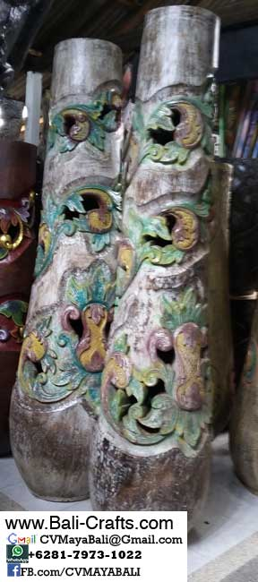 palm1-8Carved Palm Tree Wood Pots From Bali Indonesia