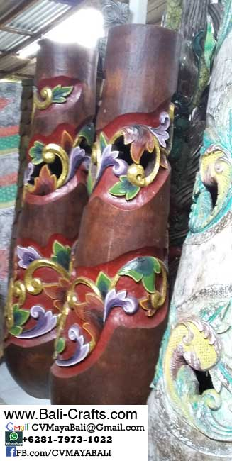 palm1-9Carved Palm Tree Wood Pots From Bali Indonesia