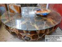 Teak Wood Table with Glasstop