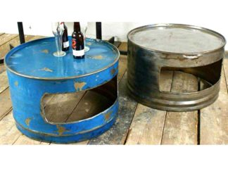 Oildrm1-19 Reuse Oil Drum Steel Table Furniture Bali Indonesia