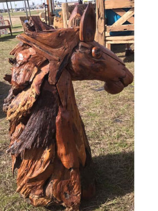 Teak Wood Horse Heads Java Indonesia